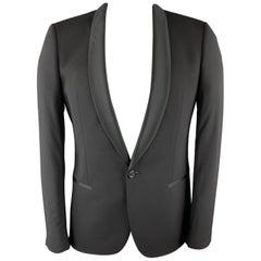 HUGO BOSS Size 40 Black Wool Shawl Collar Tuxedo Jacket
