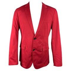 HUGO BOSS Size 40 Red Cotton Notch Lapel Sport Coat