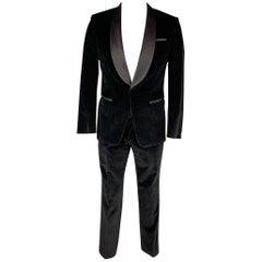 HUGO BOSS Size 40 Regular Black Cotton Velvet Shawl Collar Tuxedo Suit