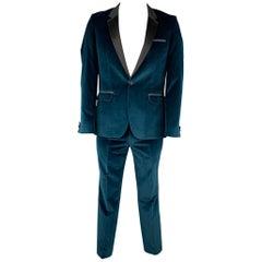 HUGO BOSS Size 40 Regular Teal Cotton Velvet Notch Lapel Tuxedo Suit