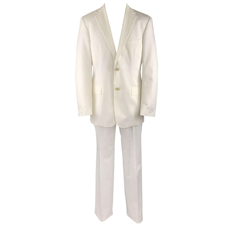 HUGO BOSS Size 40 White Cotton Notch Lapel Suit