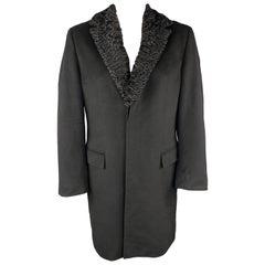 HUGO BOSS Size 42 Black Wool Blend Hidden Placket Fur Collar Coat