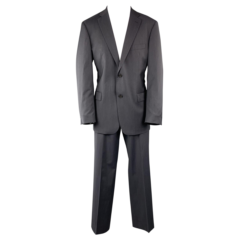HUGO BOSS Size 42 Navy Solid Virgin Wool Notch Lapel 34 x 32 Suit