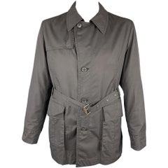 HUGO BOSS Size 44 Black Solid Cotton Blend Belted Jacket