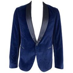 HUGO BOSS Size 44 Navy Blue Velvet Satin Shawl Collar Dinner Jacket