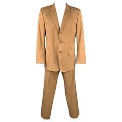 HUGO BOSS Size 44 Regular Tan Cotton Notch Lapel Suit
