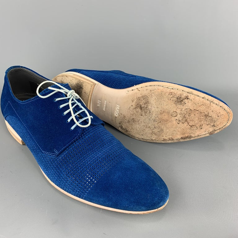 HUGO BOSS Size 9.5 Blue Perforated Suede Pointed Lace Up In Excellent Condition For Sale In San Francisco, CA