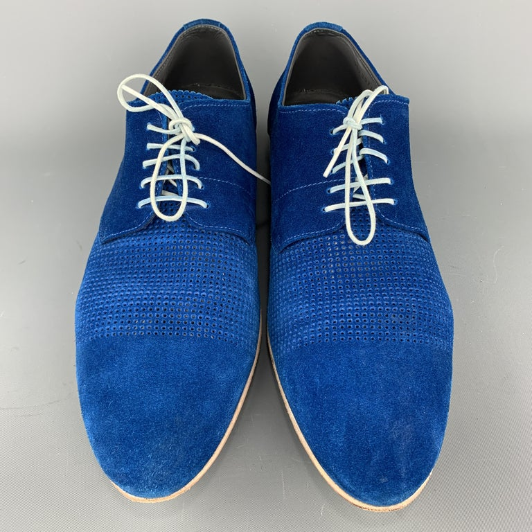 Men's HUGO BOSS Size 9.5 Blue Perforated Suede Pointed Lace Up For Sale