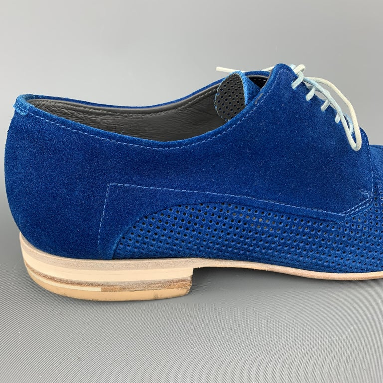 HUGO BOSS Size 9.5 Blue Perforated Suede Pointed Lace Up For Sale 2