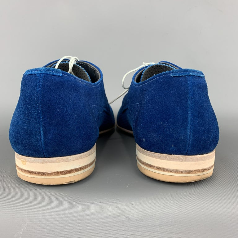 HUGO BOSS Size 9.5 Blue Perforated Suede Pointed Lace Up For Sale 3