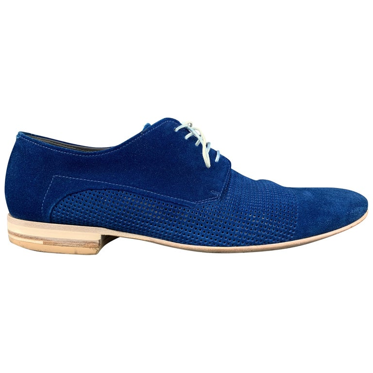 HUGO BOSS Size 9.5 Blue Perforated Suede Pointed Lace Up For Sale
