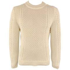 HUGO BOSS Size M Knitted Off White Cotton Blend Crew-Neck Side Buttons Pullover