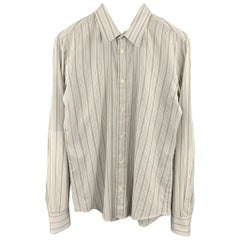 HUGO BOSS Size S Light Gray Stripe Cotton Button Up Long Sleeve Shirt