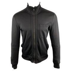 HUGO BOSS Size S Solid Black Cotton Zip Up Jacket