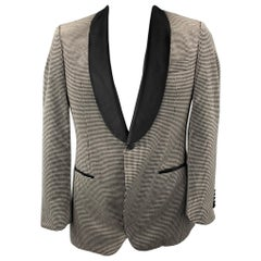 HUGO BOSS Tailored Size 42 Grey & Black Houndstooth Cotton Velvet Sport Coat