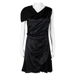 Hugo by Hugo Boss Black Silk Drape Detail Pleated Kareen Dress M