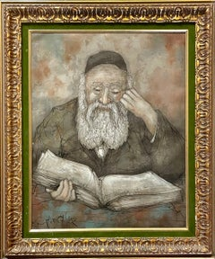 Modernist Jewish Rabbi Oil Painting Rare Polish German Judaica Hugo Casar