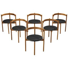 Hugo Frandsen for Børge Søndergaard Set of Six Dining Chairs in Oak and Leather