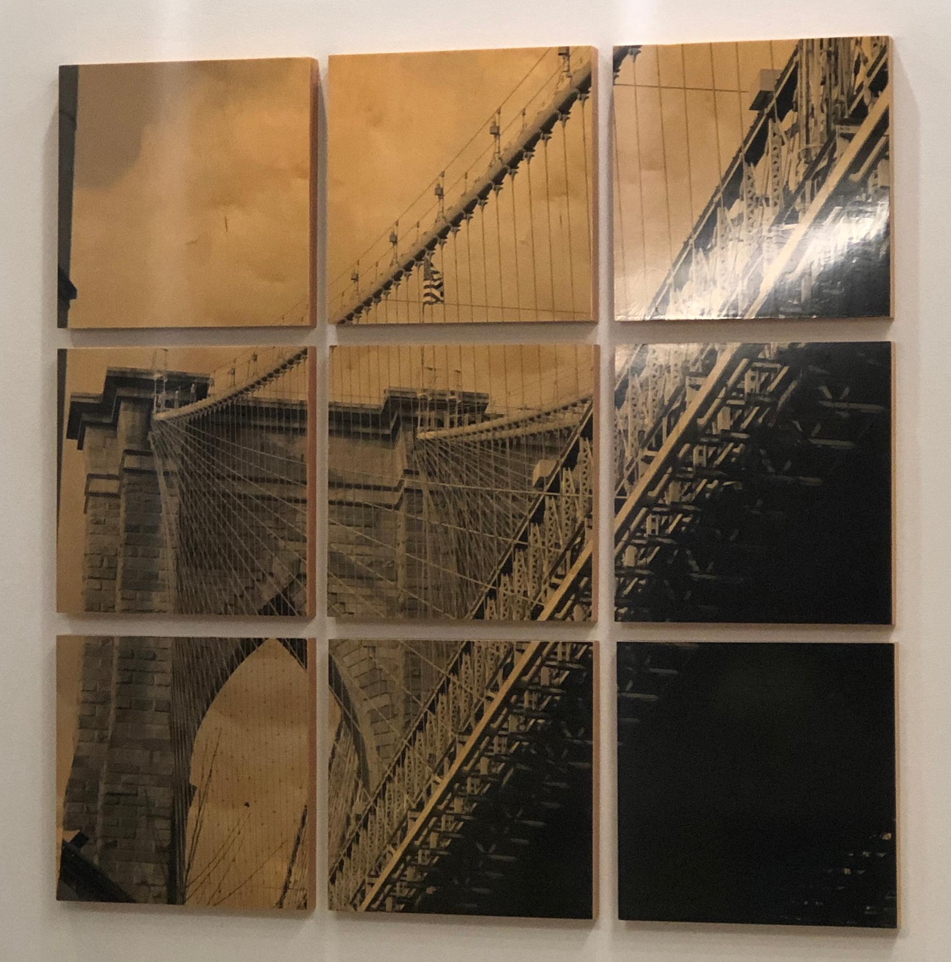 Brooklyn Bridge I, contemporary and elegant, mixed media photography on wood