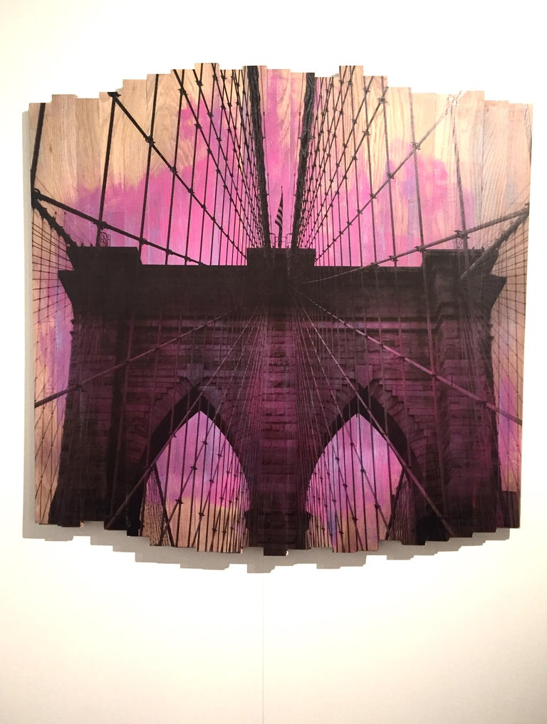 Brooklyn Bridge IV, Sunset Magenta, mixed media photography on wood - Contemporary Mixed Media Art by Hugo Garcia-Urrutia