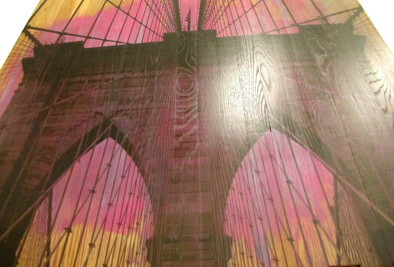 Brooklyn Bridge IV, Sunset Magenta, mixed media photography on wood For Sale 1