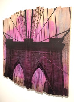 Brooklyn Bridge IV, Sunset Magenta, mixed media photography on wood