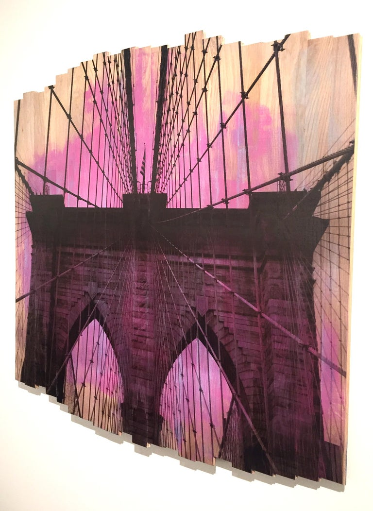 Brooklyn Bridge IV, Sunset Magenta, mixed media photography on wood - Mixed Media Art by Hugo Garcia-Urrutia