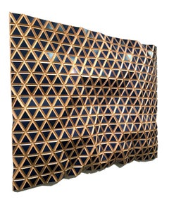 Blue Moon Flexible Rigids, painted wood sculptural wall, parametric design