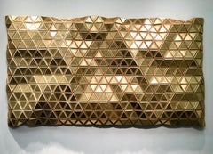 Golden Mirage, Hugo Urrutia, 3-D Wall Sculpture, Lacquer, Acrylic Mirror & Maple