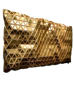 Golden Mirage, Metallic wooden carved modern wall sculpture, geometric design
