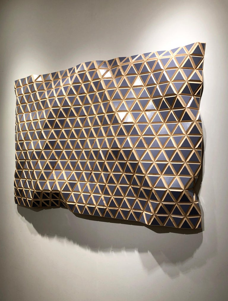Lavender Fields - Flexible Rigid, carved wood sculptural wall, parametric design - Brown Abstract Sculpture by Hugo Garcia-Urrutia