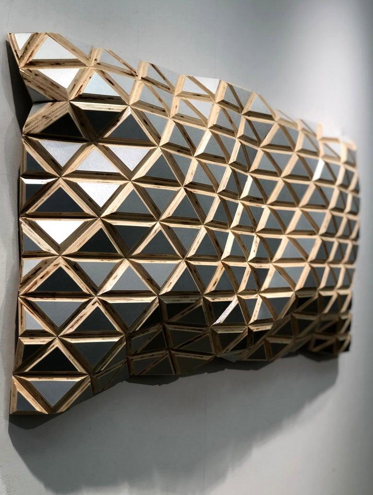 Puerto Plata - sculptural wall, parametric design silver hand painted wood sculp For Sale 1