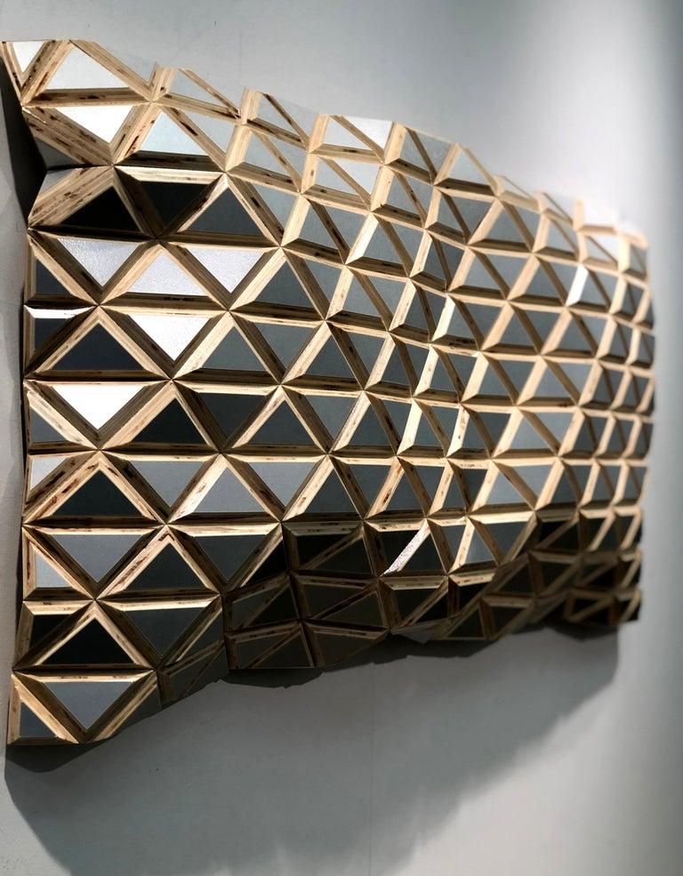 Puerto Plata - sculptural wall, parametric design silver hand painted wood sculp For Sale 2