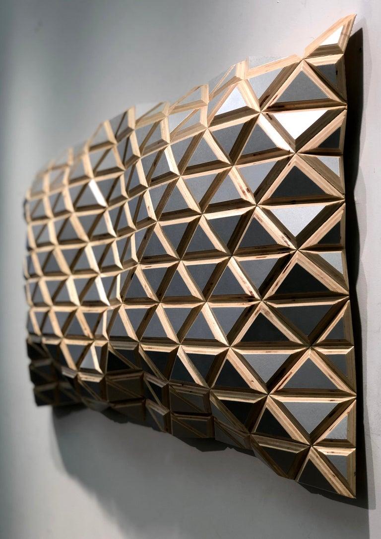Puerto Plata - sculptural wall, parametric design silver hand painted wood sculp For Sale 3