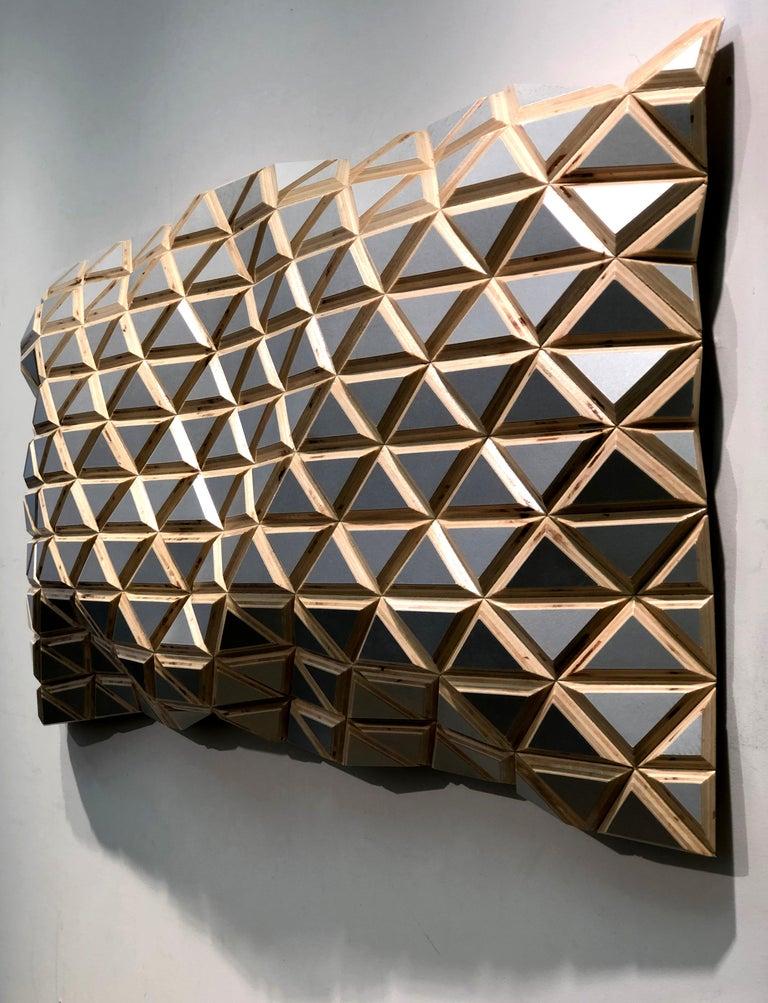 Puerto Plata - sculptural wall, parametric design silver hand painted wood sculp For Sale 4