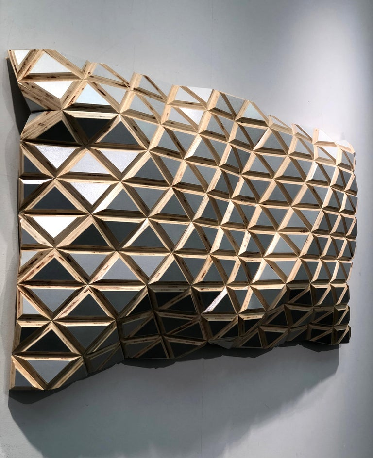 Puerto Plata - sculptural wall, parametric design silver hand painted wood sculp For Sale 5