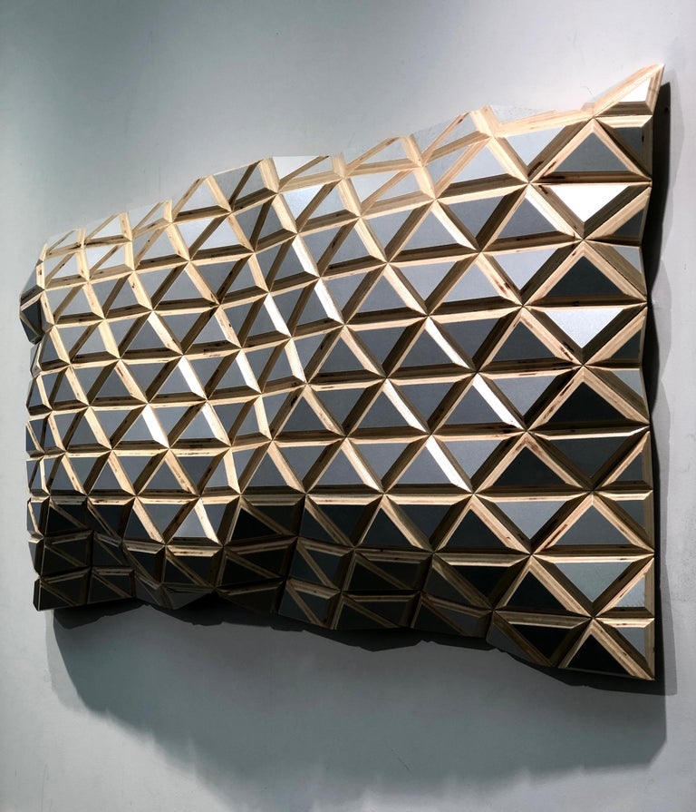 Puerto Plata - sculptural wall, parametric design silver hand painted wood sculp For Sale 6
