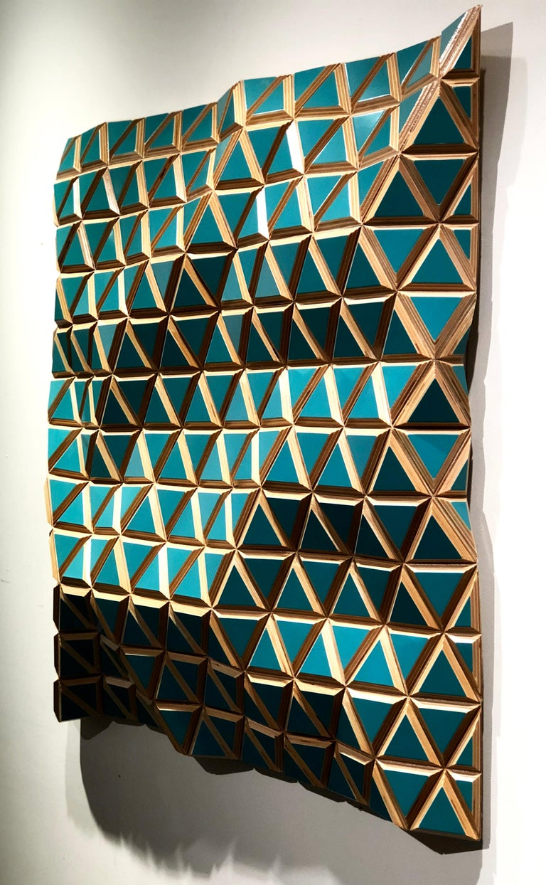 Tropicalisimo -Flexible Rigids- painted wood sculptural wall, parametric design  For Sale 3