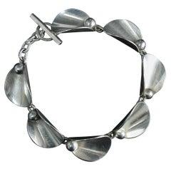 Hugo Grun Modernist Bracelet, Denmark 1930s Sterling Silver