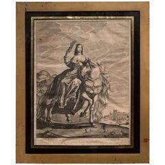 Hugo Hunch Allard 17th Century Rectangular Black Gold Framed Engraving