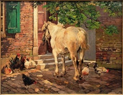 """""""Horse and Chickens in Front of an Old House"""""""