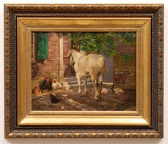 """""""Horse, Chickens and a Rooster in Front of an Old House"""" 19th century."""