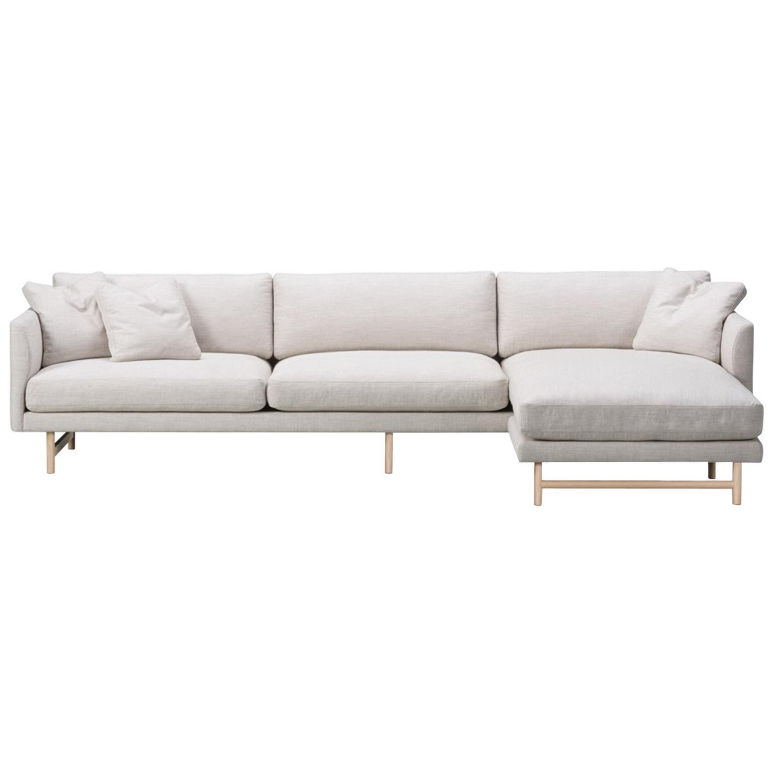 Hugo Passos Calmo Sofa 95, 3-Seater, Chaise, Wood Base