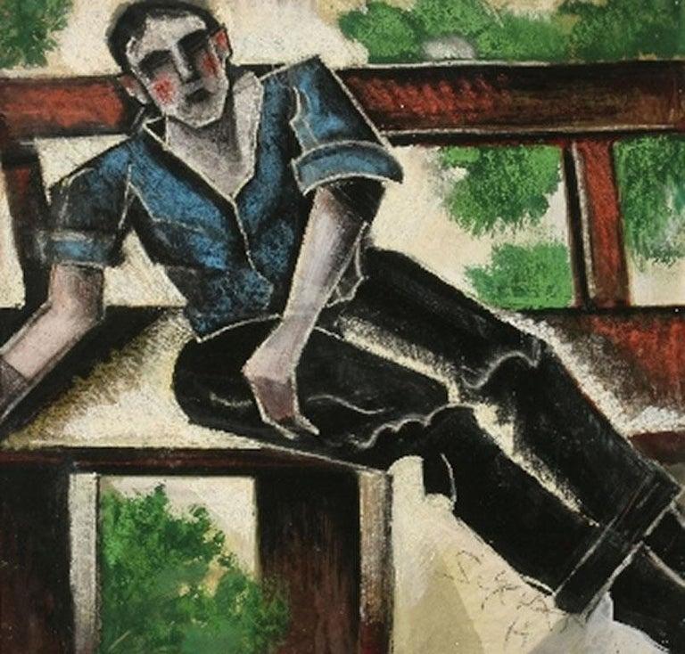 "Hugó Scheiber Figurative Art - ""Man on a Bench"" Hungarian Futurist, Expressionist, Figurative Portrait Modern"