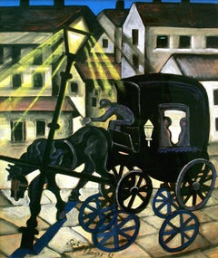 Carriage at Night, dark carriage moving through city at night
