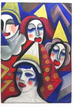 Four Clowns, original tempera on paper portrayal of colorful clowns