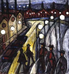 Nocturnal Cityscape, work on paper depicting city at night with people walking