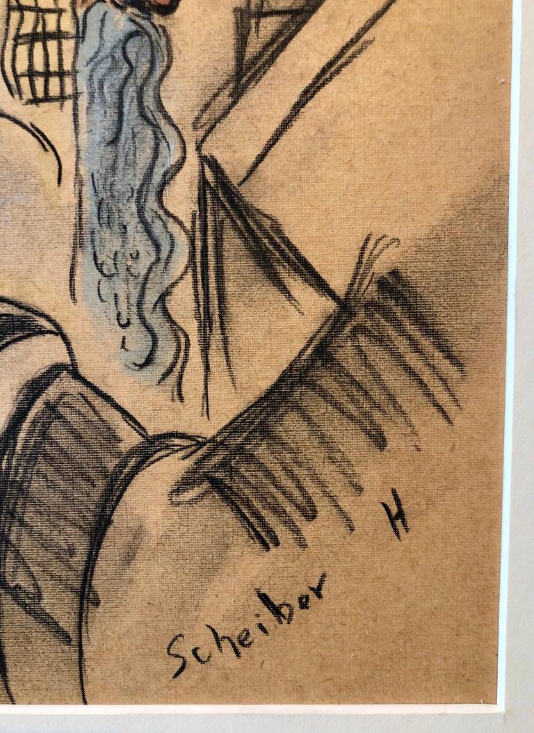 Rare Modernist Hungarian Rabbi Pastel Drawing Gouache Painting Judaica Art Deco - Brown Portrait by Hugó Scheiber