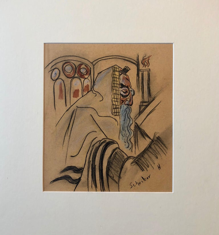Rare Modernist Hungarian Rabbi Pastel Drawing Gouache Painting Judaica Art Deco For Sale 1
