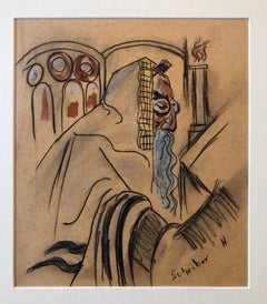 Rare Modernist Hungarian Rabbi Pastel Drawing Gouache Painting Judaica Art Deco